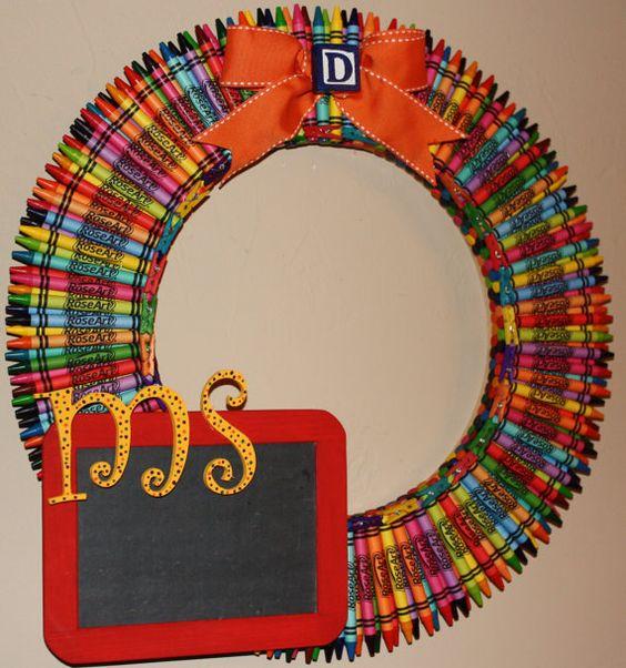 Crayon wreath. I love the chalkboard.