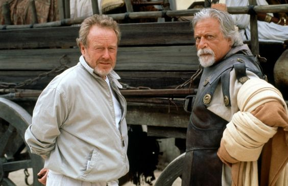 """Ridley Scott and Oliver Reed on the set of """"The Gladiator"""" 2000"""