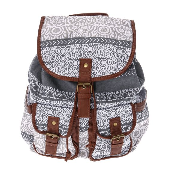 <P>This stylish backpack features a pretty white floral design on a dark gray background with brown faux leather trimmings.</P><UL><LI>White floral design <LI>2 front pockets <LI>Adjustable straps</LI></UL>