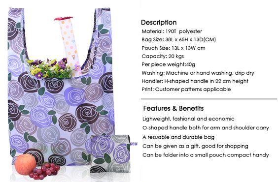 Aliexpress.com: Comprar Susinobags Rose impresión plegable de compras reutilizables bolsas promocionales promocionales EcoTote bolsa bolso de compras de bolsa para estera de yoga fiable proveedores en SUSINO (Xiamen) Industrial Co.,Ltd.