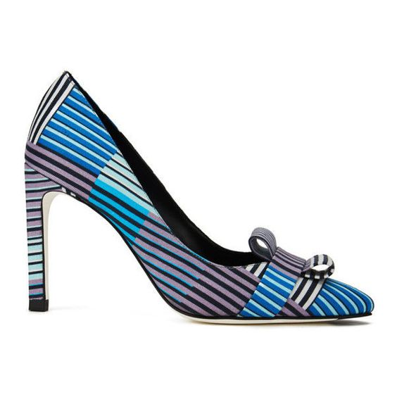 Paul Smith Shoes Women's Hope Silk Bow Court Shoes - Blue Miami Stripe... (€125) ❤ liked on Polyvore featuring shoes, pumps, heels, blue, pointed toe high heel pumps, stiletto pumps, high heel pumps, stiletto heel pumps and high heel stilettos