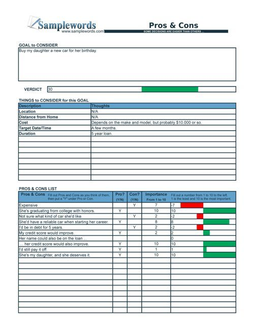 Pros And Cons List Checklist In Excel And Pdf Format Pros And Cons List Checklist I Need A Job