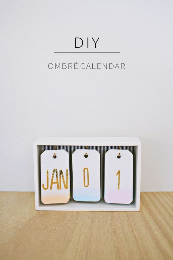Try this adorable DIY Ombre Desk Calendar for the new year!