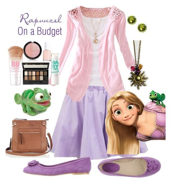 Rapunzel Disneybound on a Budget by bijouxetsoirees on Polyvore featuring PAOLA FERRI, Oasis, Disney, Moise, Maybelline, Forever 21 and Essie