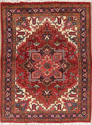 Medallion Persian Heriz Geometric Area Rug Hand Knotted