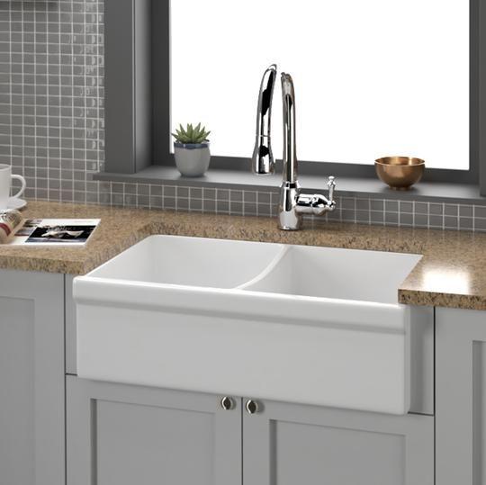 33 Prescara Fireclay Double Bowl Farmhouse Sink Kitchen Remodel