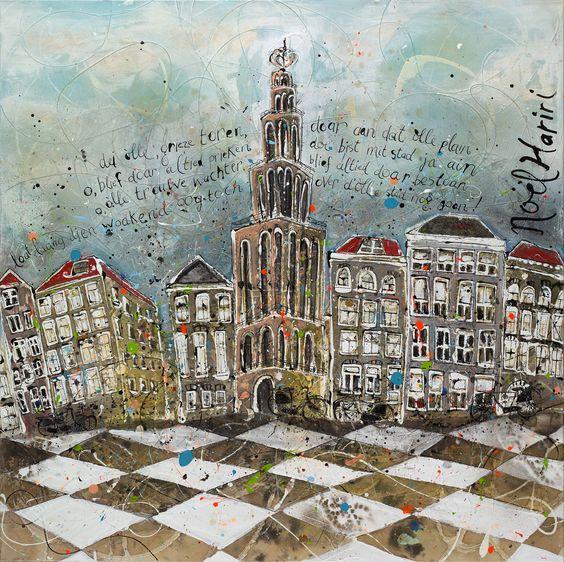 Groningen olle grieze schilderij mixed media 100x100cm 3d no l hariri - Idee schilderij living ...