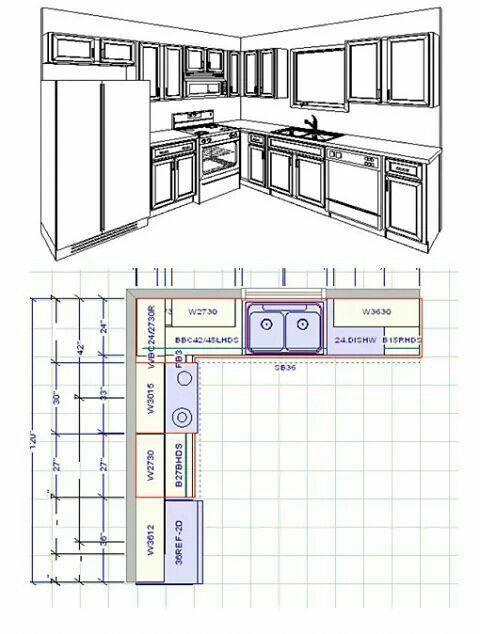 Idees De Cuisine 10x10 Disposition Des Armoires De Cuisine Standard 10x10 Pour La Com Small Kitchen Floor Plans Kitchen Floor Plans Small Kitchen Renovations