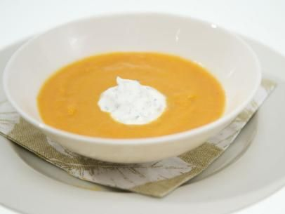 Spiced Carrot Soup with Cilantro Crema Recipe : Aria Kagan : Food Network