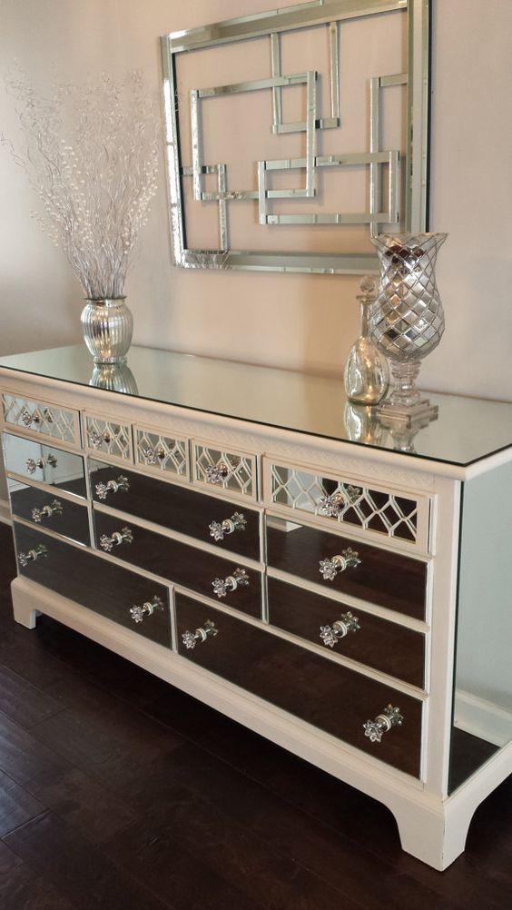 Mirrored Dresser Old White with Diamond overlay, Chic mirror dresser Annie Sloan old white chalk paint