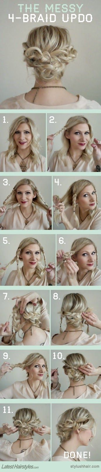 How to Chic: THE MESSY 4-BRAID UPDO