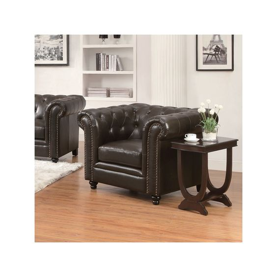 This bonded leather chair with button tufts and nailhead trim would look smart in a living room or home office. Roy Bonded Leather Chair | Furniture and Mattress Outlet