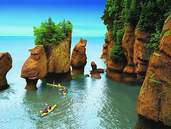 Bay of Fundy, Nova Scotia, Canada.    Tide changes every 6 hours.  High and low tide vary by 50 feet, the greatest height in the world.: