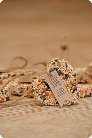 Homemade birdseed feeders -- looks like a project for this weekend