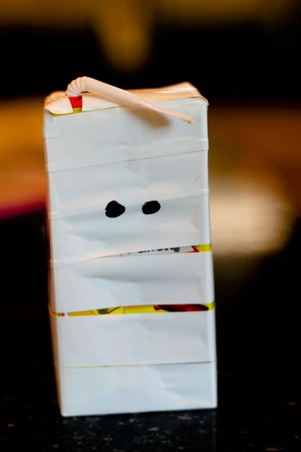 Mummy wrapped juice boxes for Halloween party.