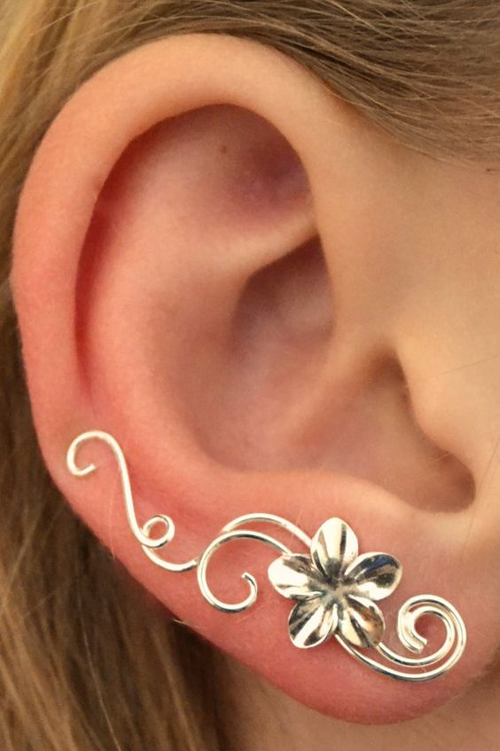 Swirling Victorian Ear Pin with Plumeria  by ChapmanJewelry