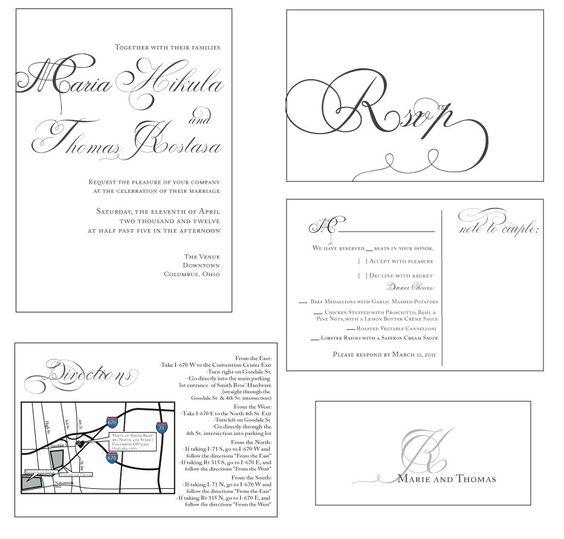 Modern vintage wedding invitations elegant calligraphy