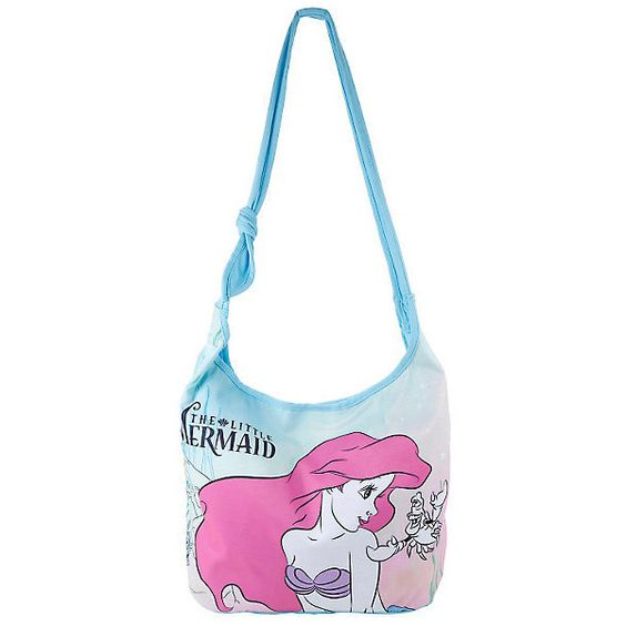 Disney The Little Mermaid Ariel Sebastian Hobo Bag Hot Topic ($20) ❤ liked on Polyvore featuring bags, handbags, shoulder bags, hobo purse, hobo shoulder bag, hobo shoulder handbags, white purse and hobo handbags