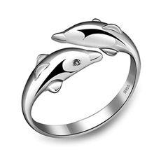 2015 moda 925 de doble anillo de delfines Sterling Silver Jewelry bijoux femme platea los anillos plateados para mujeres de la joyería(China (Mainland))