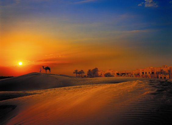 Oman | Desert Sunset. credit: Bab Al Shams Desert Resort & Spa. view on Fb https://www.facebook.com/SinbadsOmanPocketGuide #oman #traveltooman #sinbadpocketguide