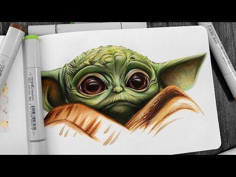 Drawing Baby Yoda The Mandalorian Youtube Yoda Drawing Star Wars Drawings Yoda Art