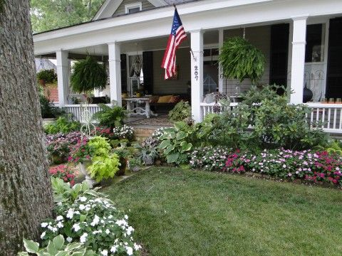 Summer porch porches and shade plants on pinterest for Front porch landscaping plants
