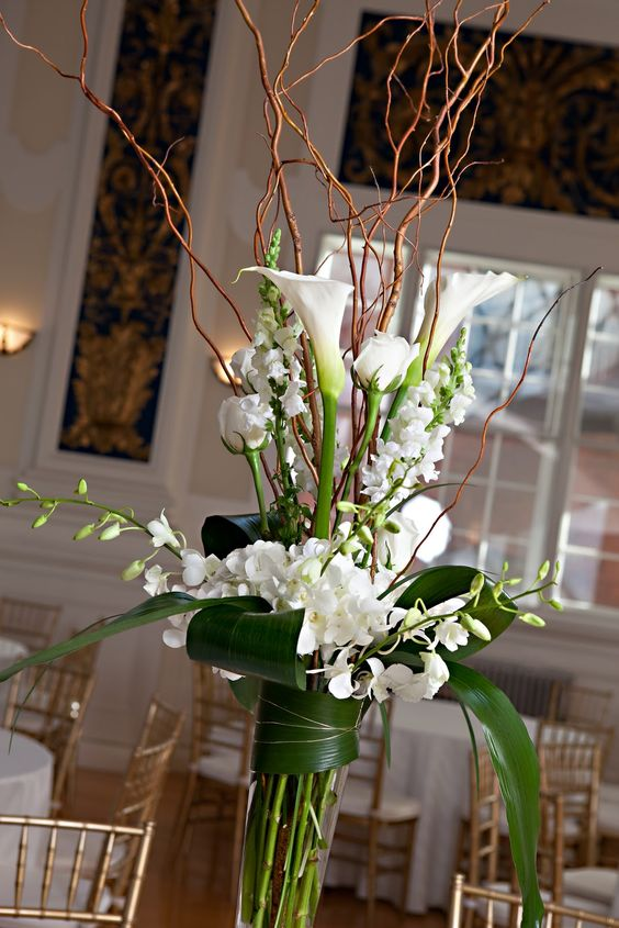 Curly willow arrangements lilies white dendrobium