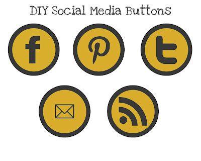 DIY social media buttons: Blog How To, Blog Party, Social Media Buttons, Blog Business Tips, Blog Pinterest Social Media, Blog Design, Blog Buttons