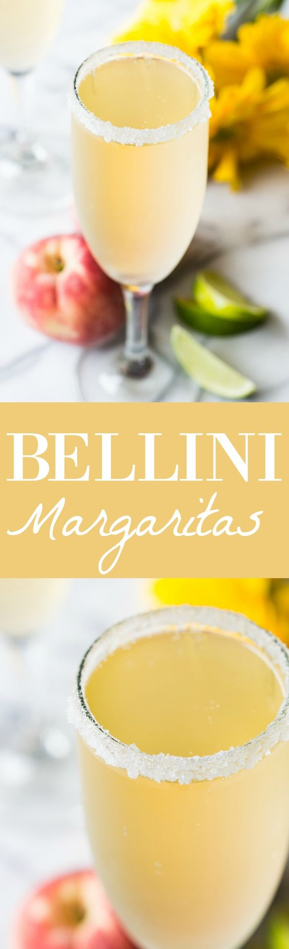 ... bellini and margarita! Made with peach juice, tequila, and champagne