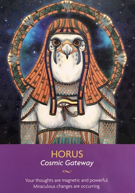 Horus, a partir de los guardianes de la cubierta de la tarjeta de Oracle Luz, por Kyle Gray, ilustraciones por Lily Moisés: