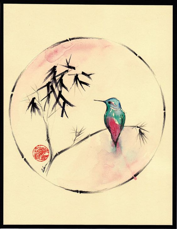 Little Muse  Original hummingbird watercolor by BeccasPlace, $149.00