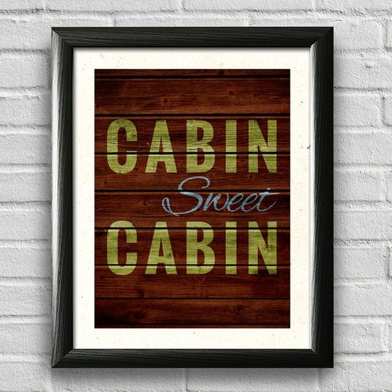 com cabin decor typography poster wall art rustic decor lake decor