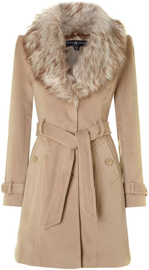 House of Fraser Little Mistress Faux fur collar coat on shopstyle