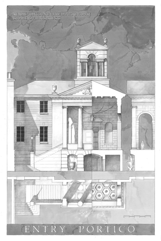 Manor House Drawing: Betsill WorkshopA Beaux Arts-esque Study Of The Entry