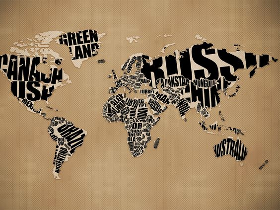 Typographic World Map by http://tinyurl.com/osg9tm  #World_Map #Typography #kelsocartography