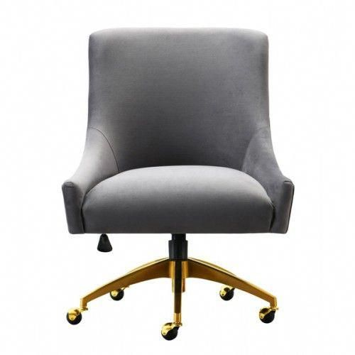 Grey Velvet Swivel Office Desk Chair Gold Base Wheels Office Chair Swivel Office Chair Chair
