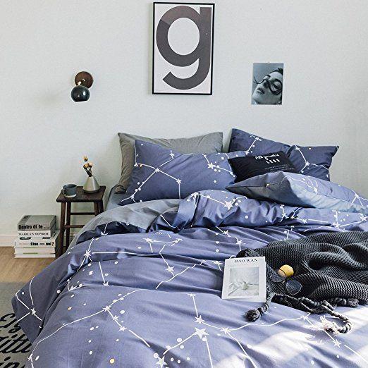 Cotton Stars Print Duvet Cover Set Full Queen Blue Grey Reversible Bedding Set Super Soft Girls Boys D Geometric Duvet Cover Full Bedding Sets Duvet Cover Sets