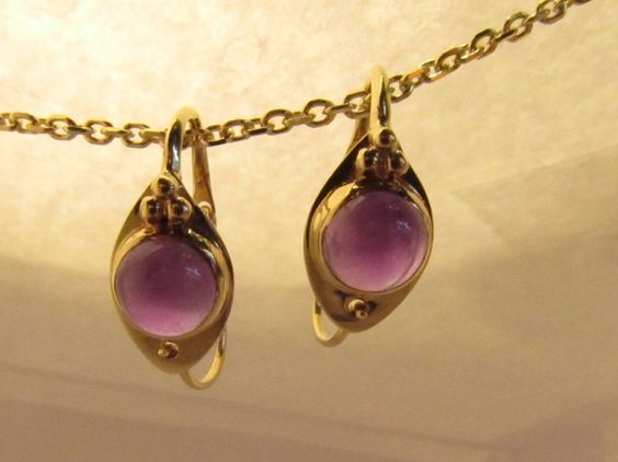 14KT Cabochon Earrings; Unique Hook