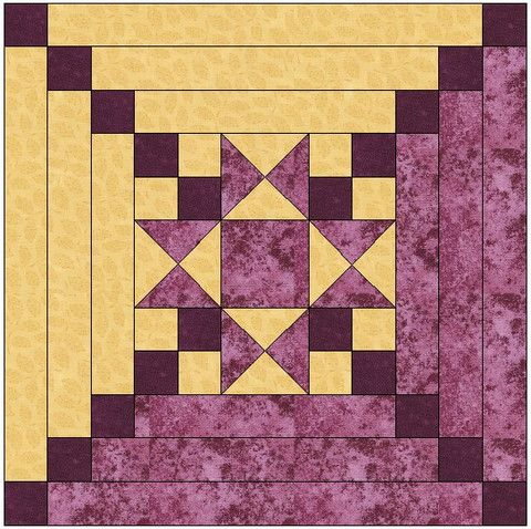 Star Center Log Cabin Quilt Block Pattern Download :: CABIN FEVER! Pinterest Beautiful ...