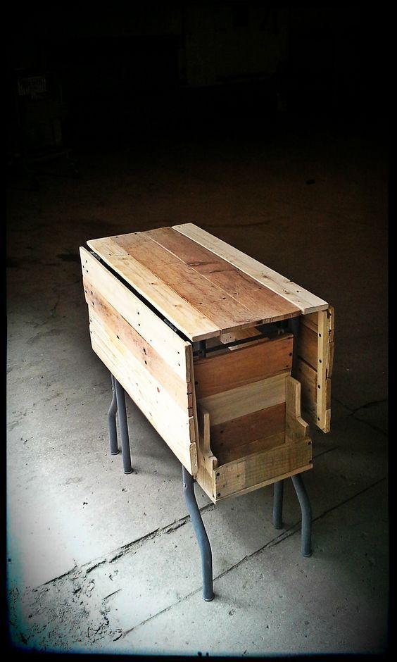 table d 39 appoint pliante pied m tal gris mat 135 diy palet palette bois wood woodwork. Black Bedroom Furniture Sets. Home Design Ideas