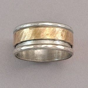Sterling Silver and Gold Spinner Ring by David Tishbi