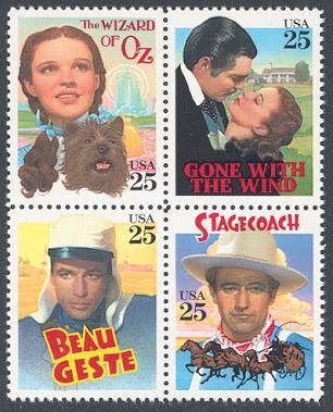 Collectible Stamps Gallery: Classic FilmsUnited States, 1990Block of 4 Stamps