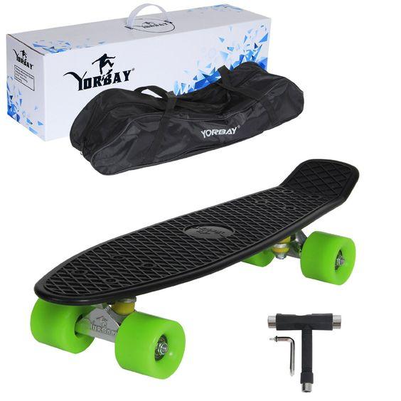 "(UPGRADE VERSION)Yorbay 22"" Retro Skateboard Komplett Fertig Montiert mit Tasche…"