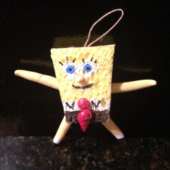 Sponge Bob Hand Painted Cartoon Ornament Made of a real sponge a d Starfish.  Hand painted with similar features Melayni.com Other