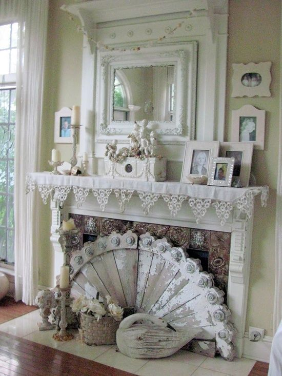 Shabby chic fireplace fireplace mantel decor pinterest - Manteles shabby chic ...