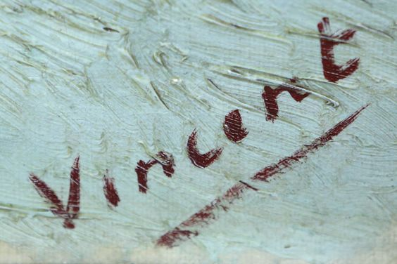 Vincent van Gogh's signature on a painting in the Kröller-Müller Museum.