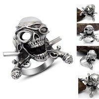 Wish | Mens Cool Titanium Stainless Steel Pirate Skull Fashion Ring