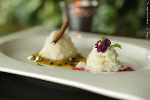 Figo Gastronomia (almoço)    Duo de arroz doce  Com calda de maracuja e morango