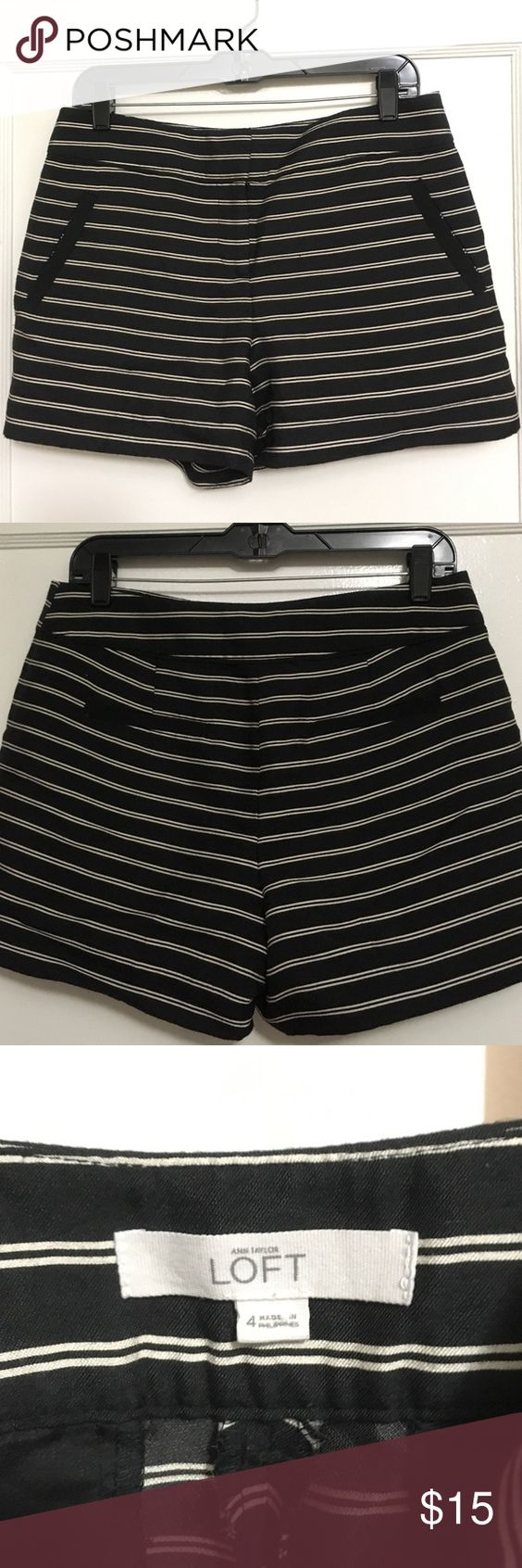Striped Shorts Black & white striped shorts with black-lines pockets. Very sleek and comfortable- can dress up or down. LOFT Shorts