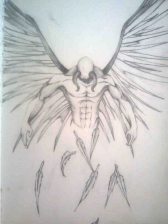 fallen angel tattoo drawing design idea - Drawing Design Ideas